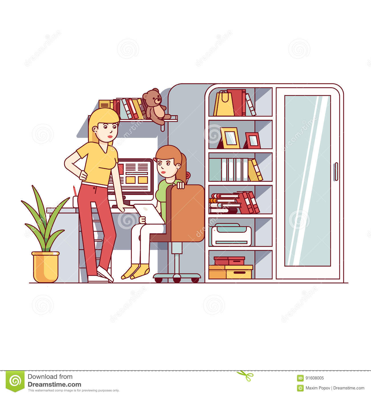 university student girls living together in dorm stock vector -  illustration of chair, isolated: 91608005  dreamstime.com