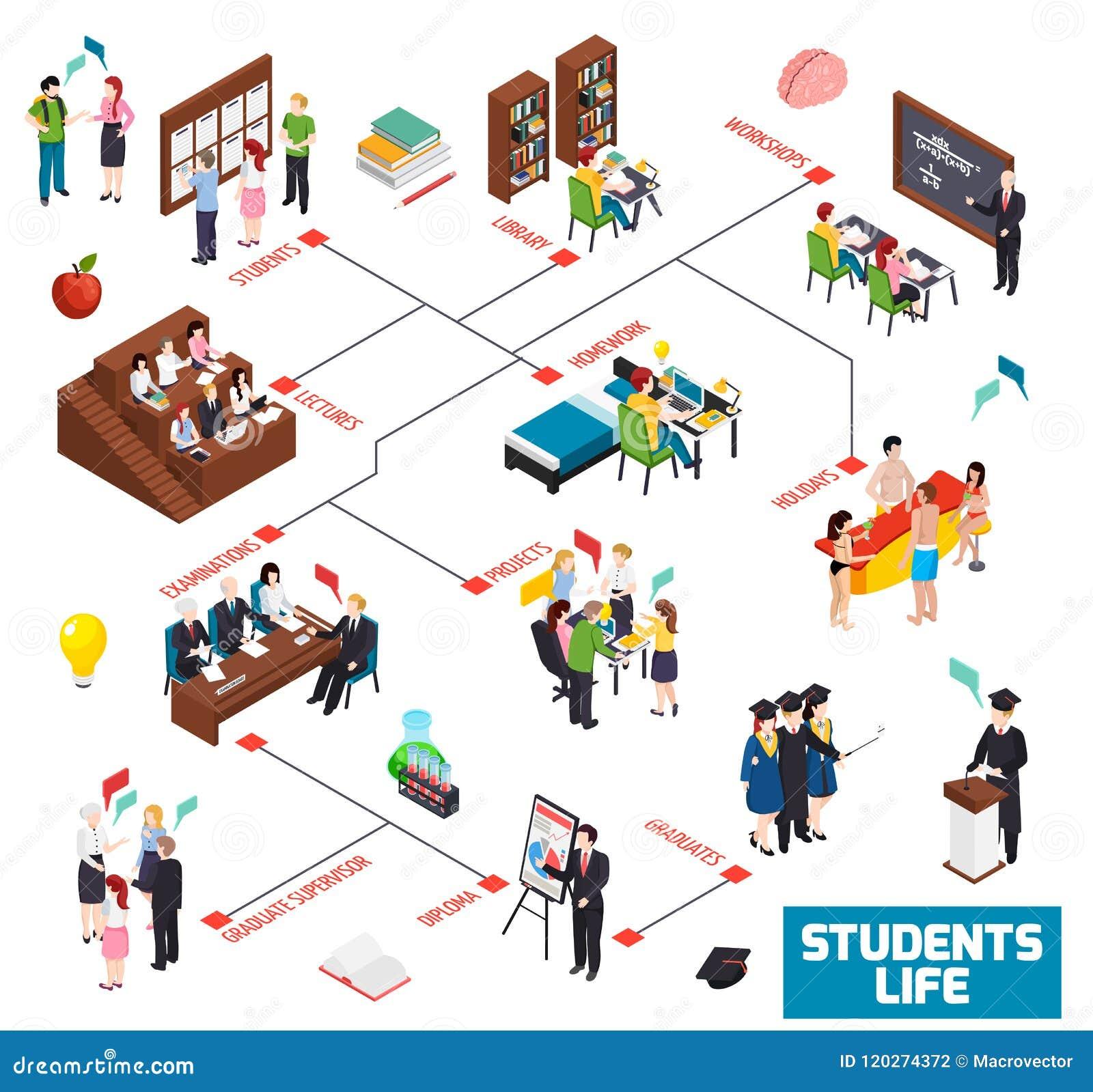 University Students Isometric Flowchart