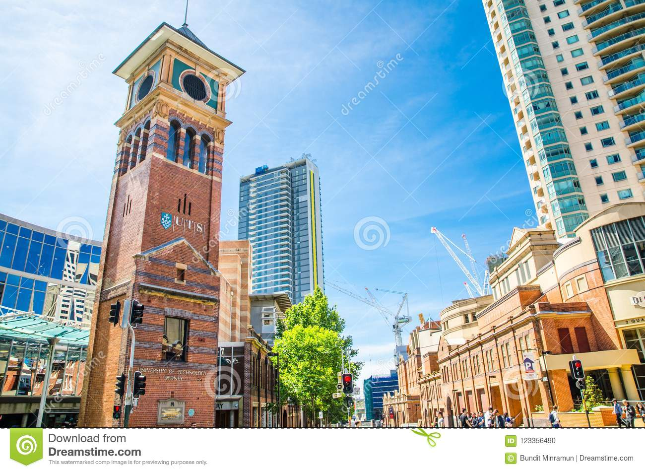 The University of Technology, Sydney UTS and library with iconic clock tower is located in Haymarket, Chinatown.