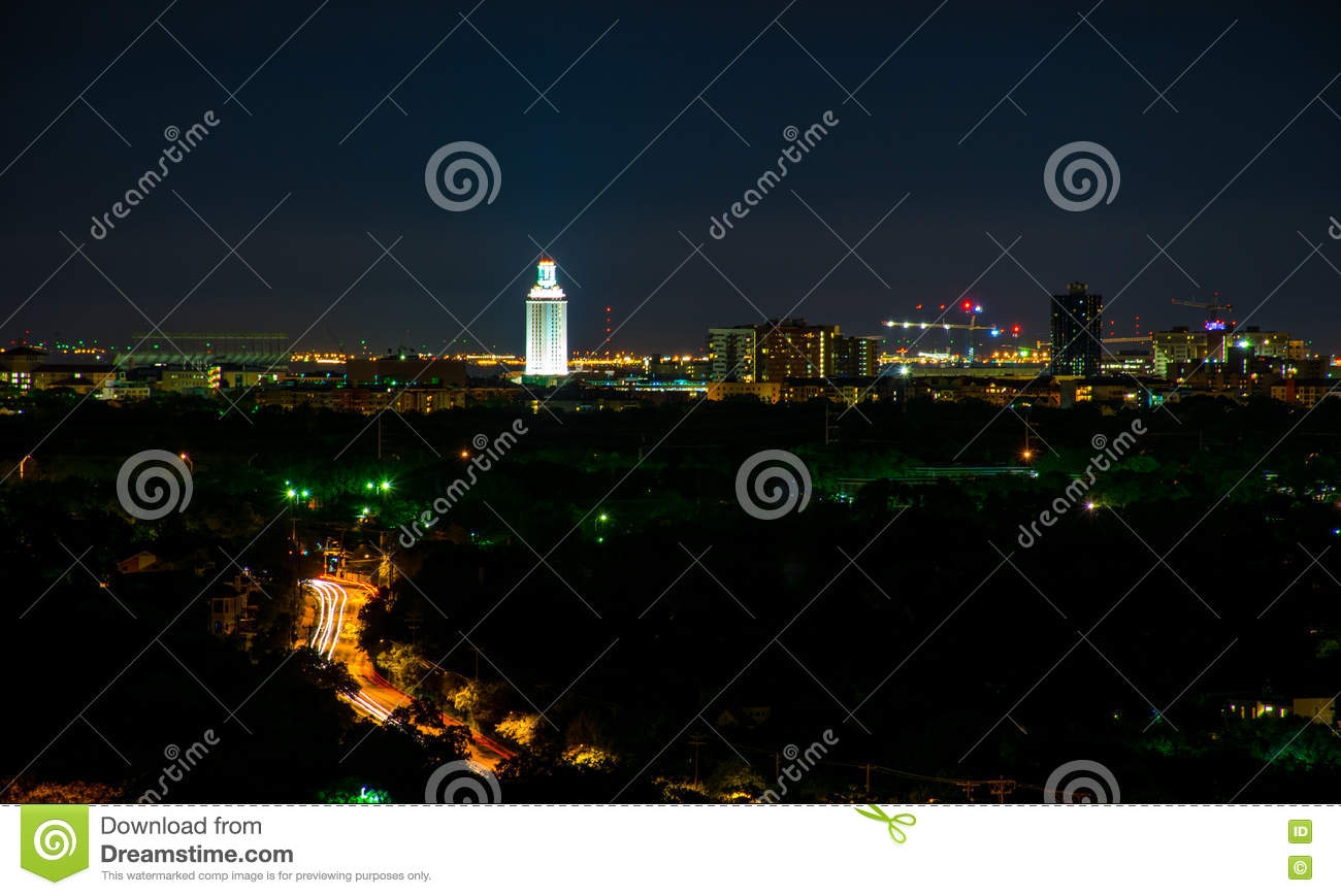 Download University Tower Lit Up At Night In Austin Texas City View From  Mount Bonnell Stock