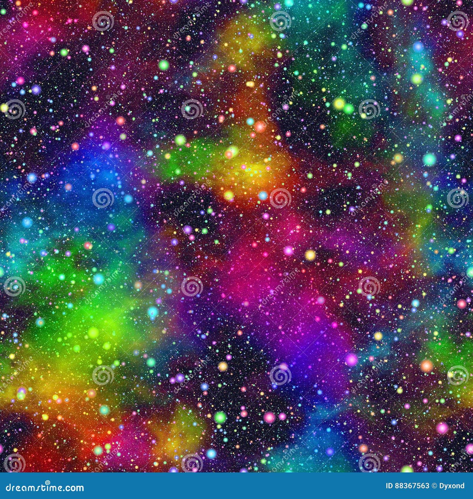 Universo colorido abstracto, cielo estrellado de la noche de la nebulosa, espacio exterior multicolor, fondo galáctico de la text