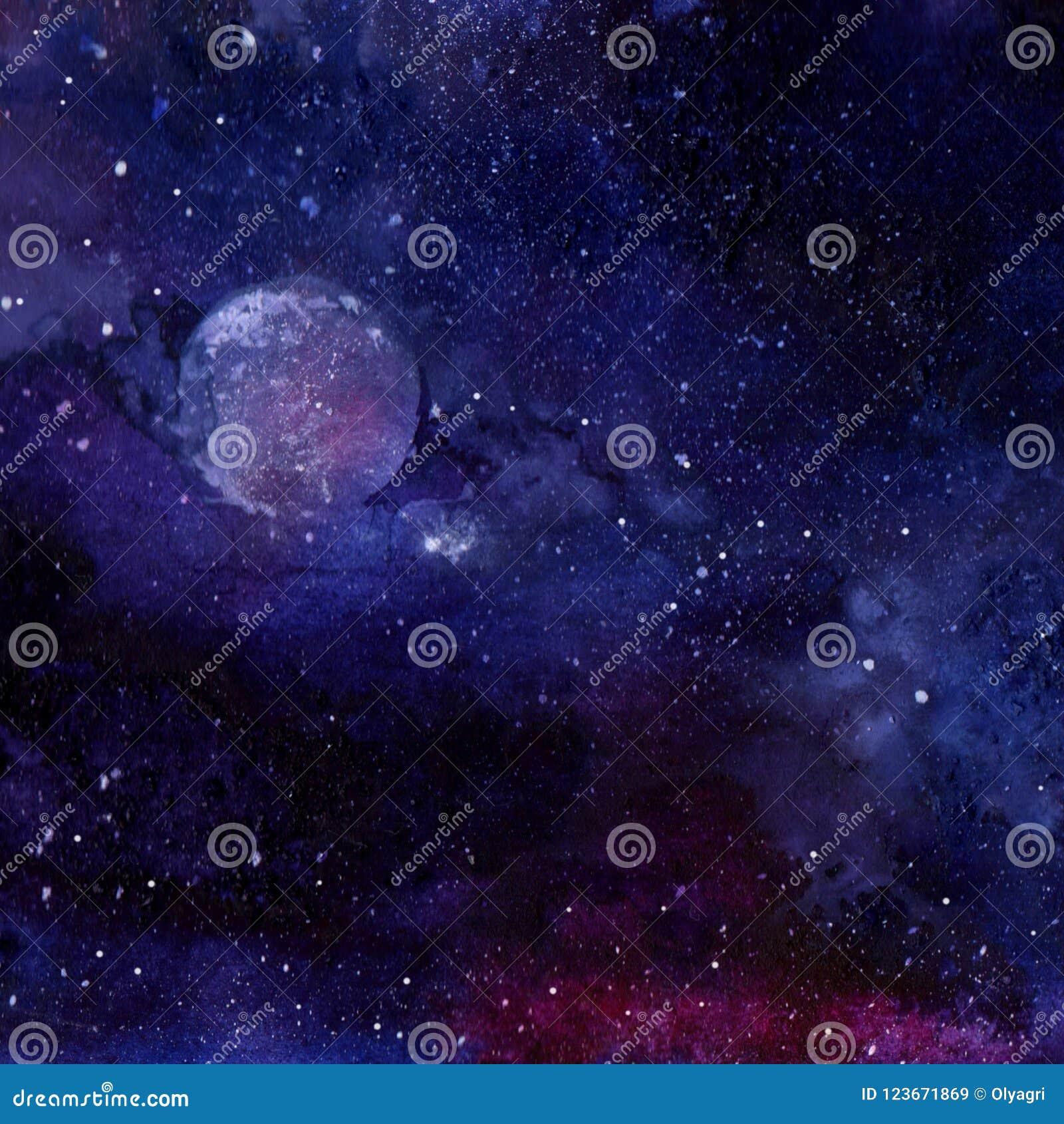 Foto Di Luna E Stelle.Universo Riempito Di Luna E Di Stelle Immagine Stock