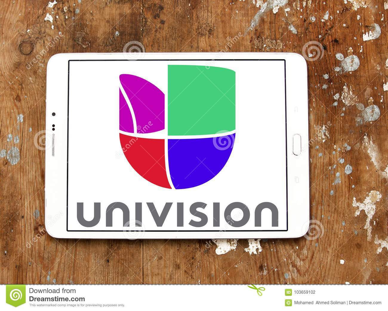 univision television network logo editorial photography - image of