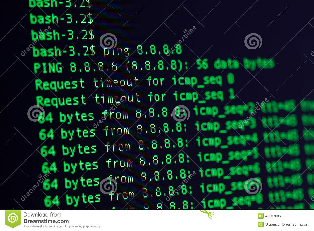UNIX Bash Shell Green Color On Black Background Royalty Free Stock Image