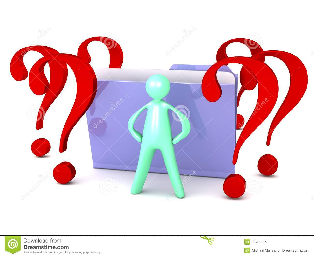 Unknown File Folder With Question Marks And Cartoon Man Royalty Free ...