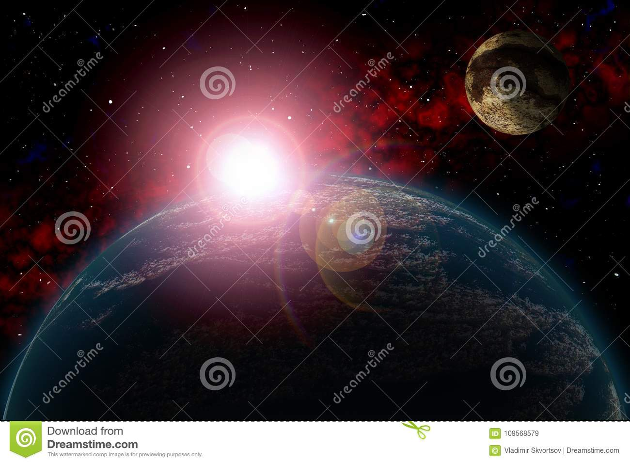 Unknown planet. Color star, sun, moon, stars, space nebula. Basis: author`s phototextures.