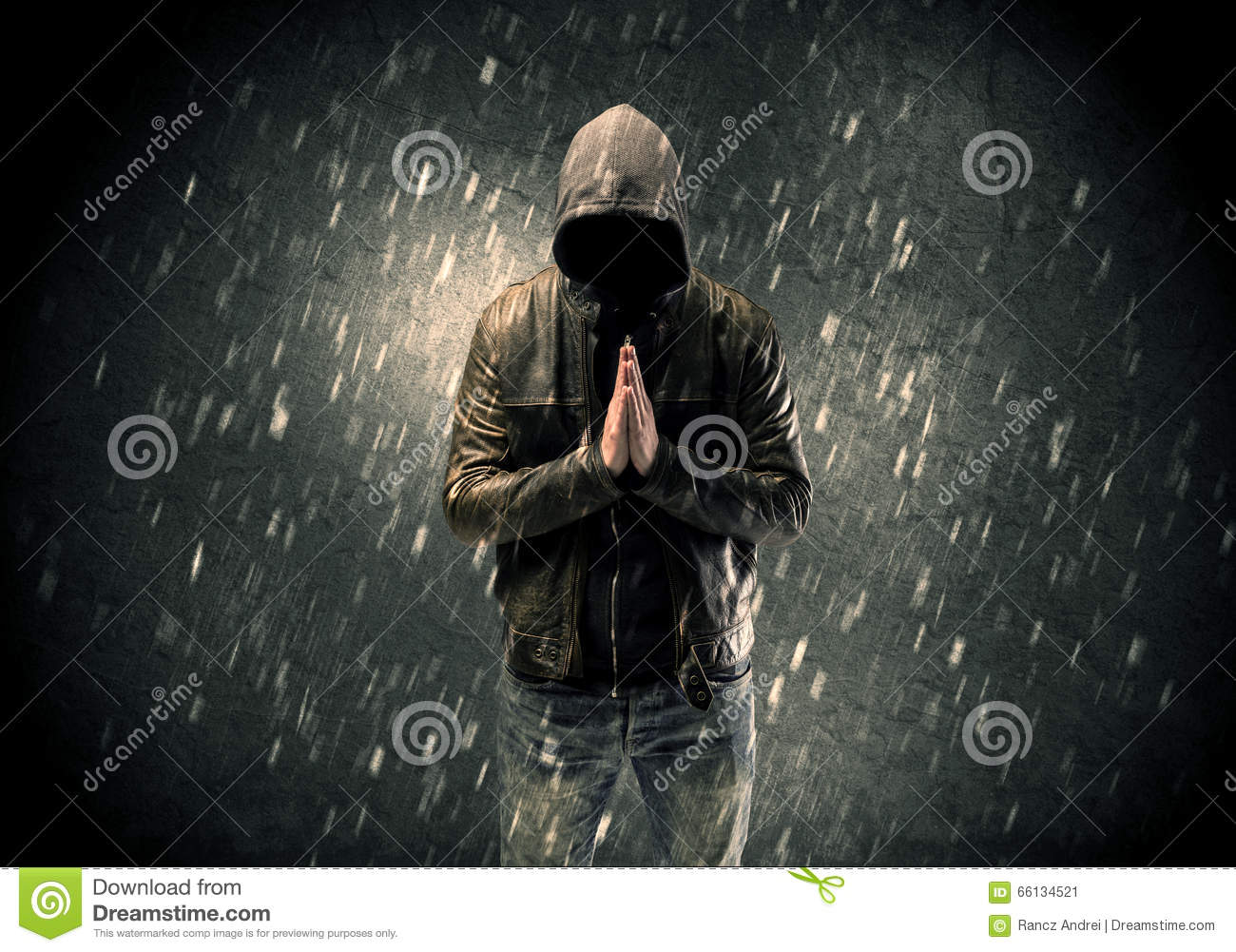 Unknown Suspect Standing In The Dark Stock Photo Image
