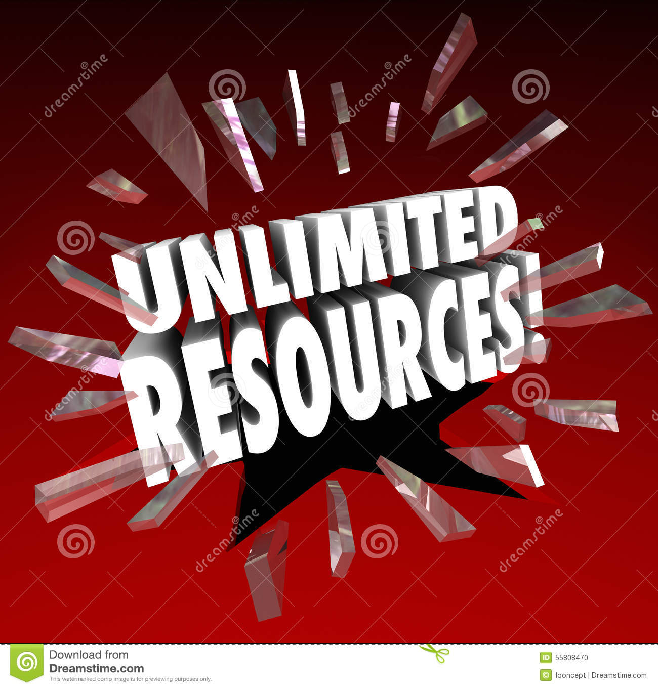 Unlimited Resources Breaking Glass Rich Wealth Endless