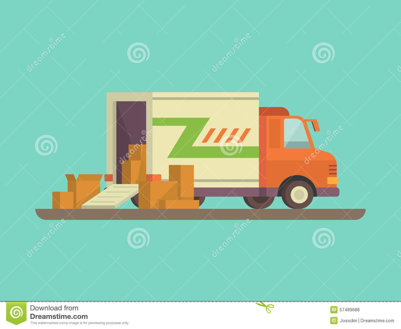 Unloading Or Loading Delivery Truck Stock Vector
