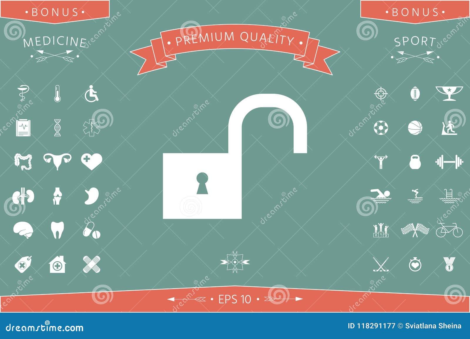 Unlock icon symbol stock vector  Illustration of system - 118291177