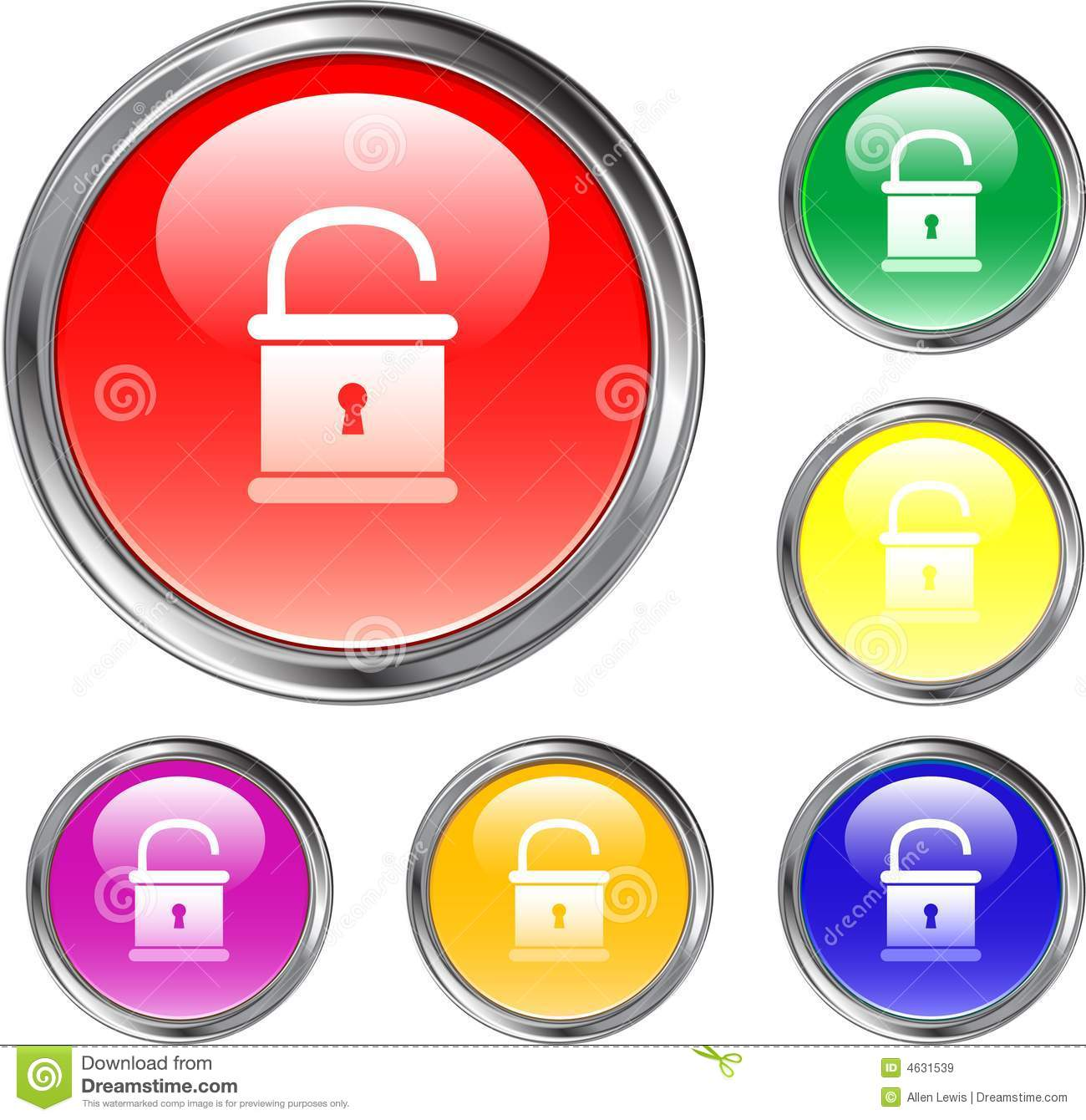 Unlocked Pad Lock Button Royalty Free Stock Images - Image: 4631539