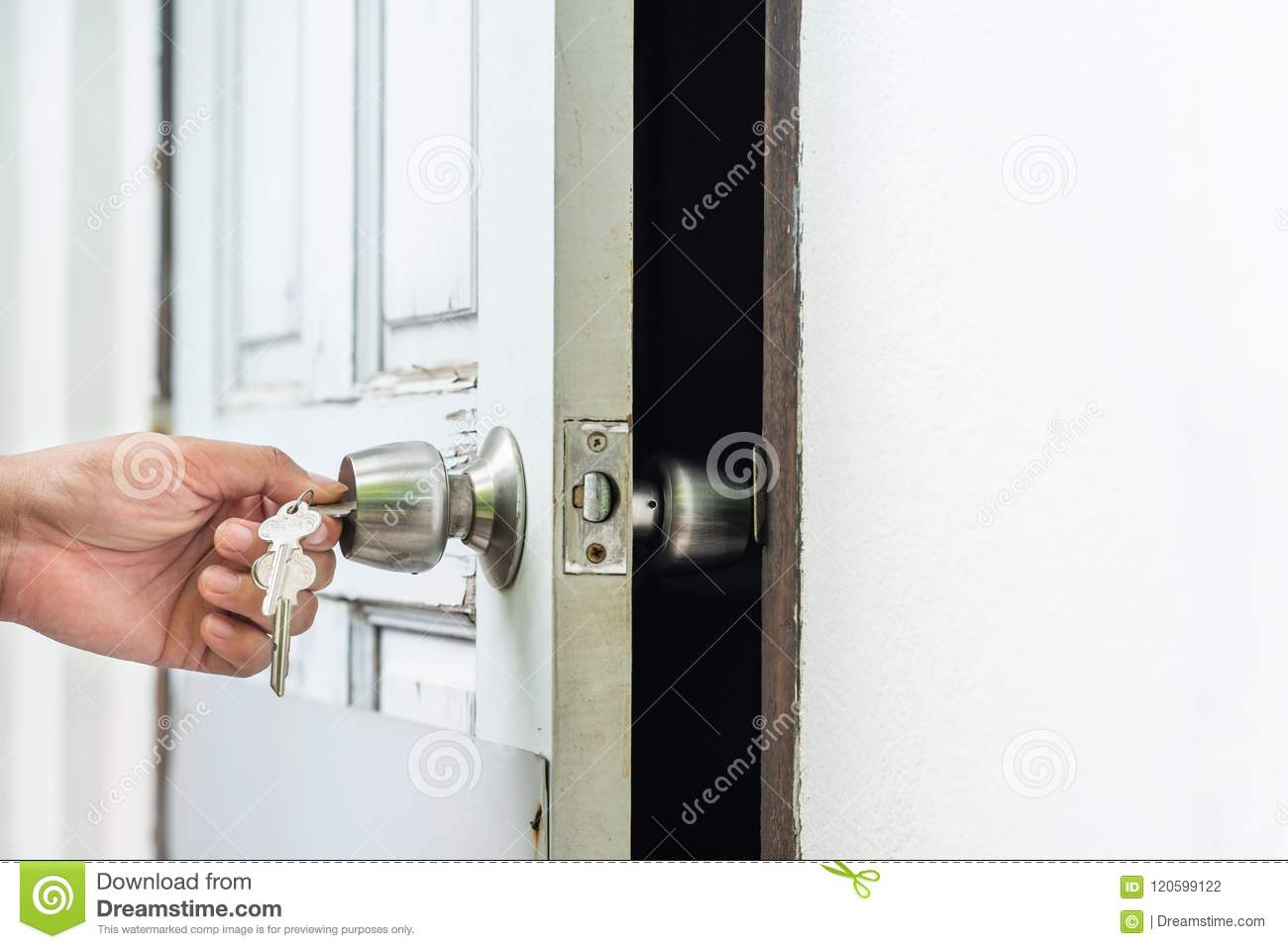 Unlocking And Opening Door With Key Stock Photo - Image of