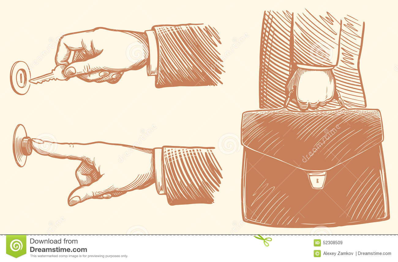 Unlocks the locking arm, hand presses the bell, businessman holding briefcase with documents. hand-drawn illustration. Vintage