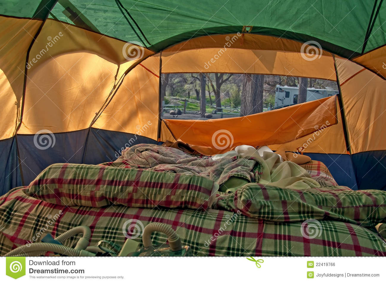 Unmade Airbed Inside Camping Tent Stock Photo