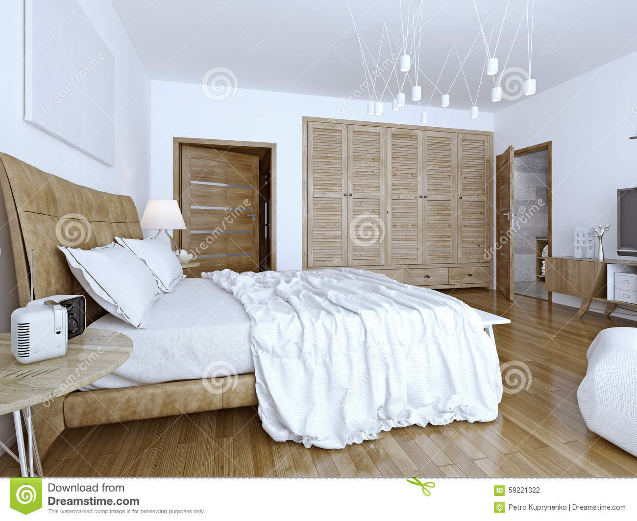 Unmade Bed In Minimalist Bedroom Stock Photo Image 59221322