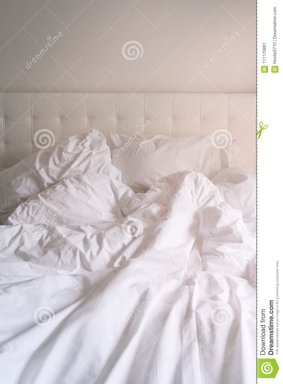 unmade bed side view. Royalty-Free Stock Photo Unmade Bed Side View E