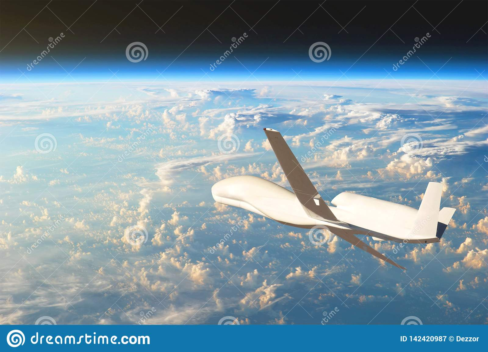 Unmanned aircraft flying in the upper atmosphere, the study of the gas shells of the planet Earth. Elements of this image