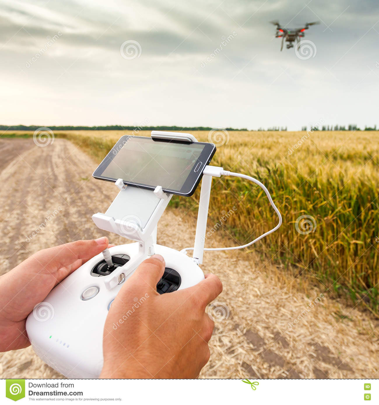 Unmanned copter. Man controls quadrocopter flight.