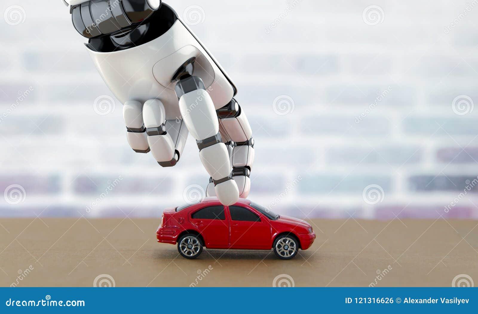 Uno mismo-conducción de concepto del coche representación 3d