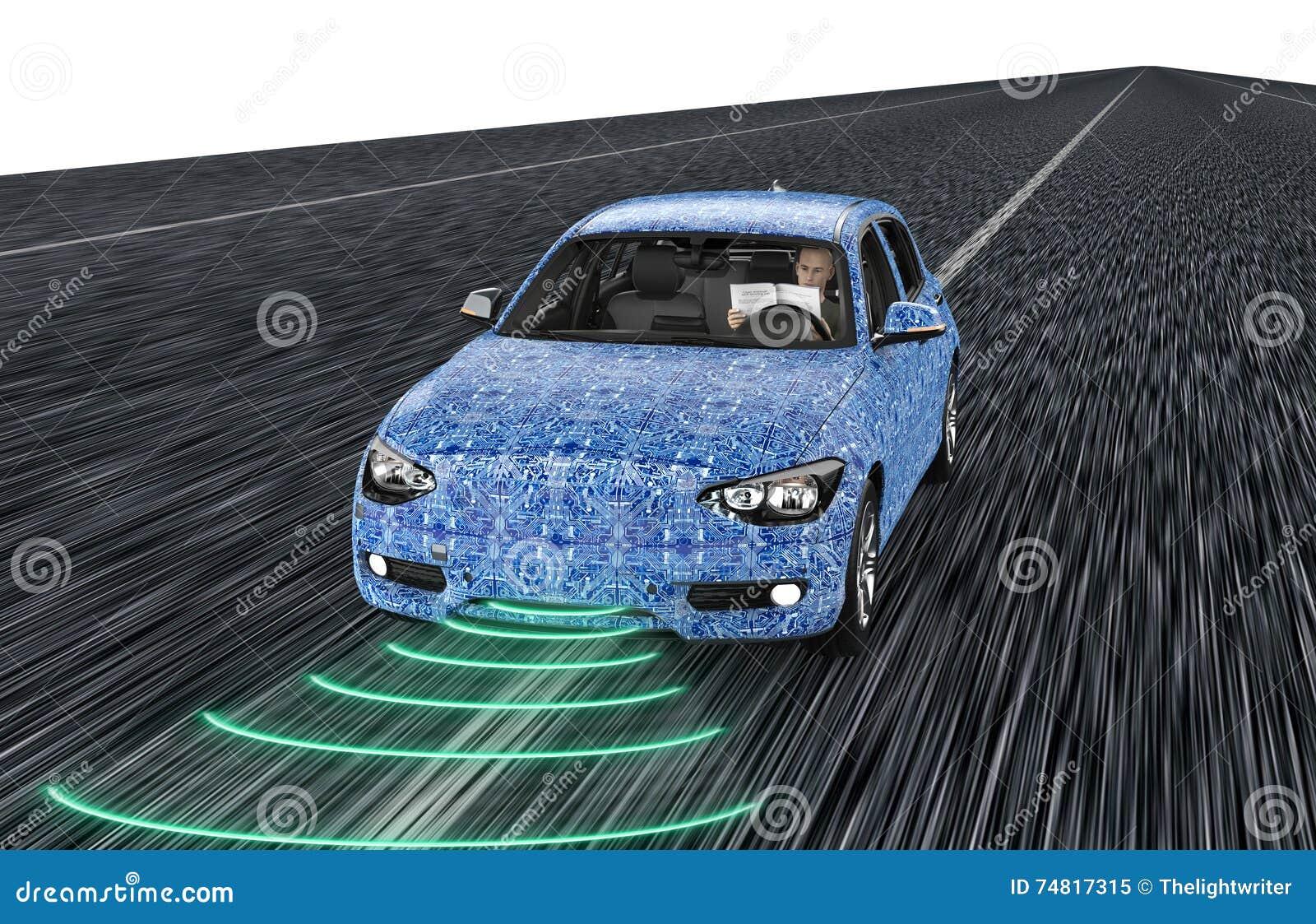 Uno mismo que conduce el coche del ordenador electrónico en el
