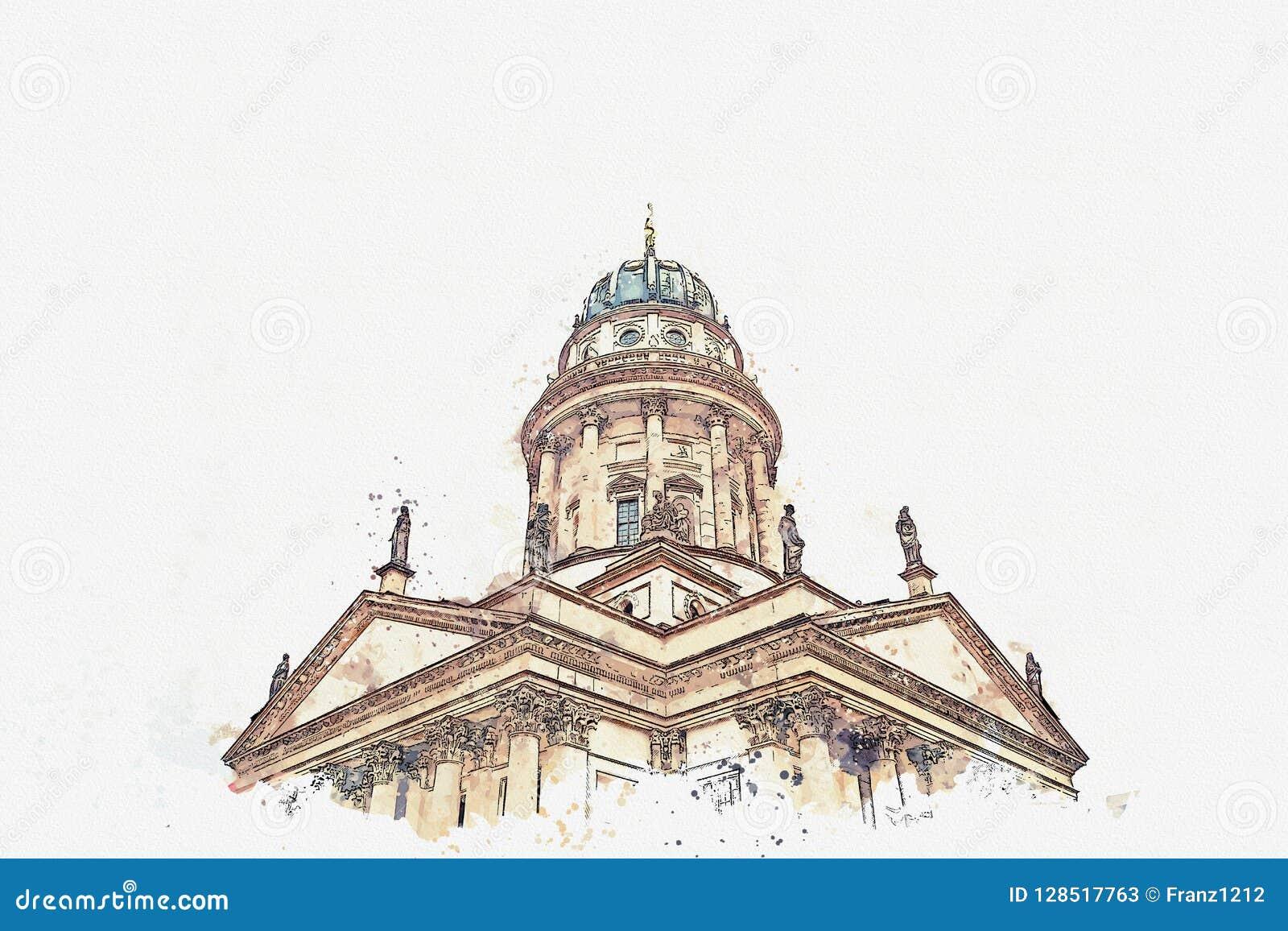 Uno schizzo dell acquerello o un illustrazione DOM francesi di Franzoesischer o della cattedrale a Berlino, Germania