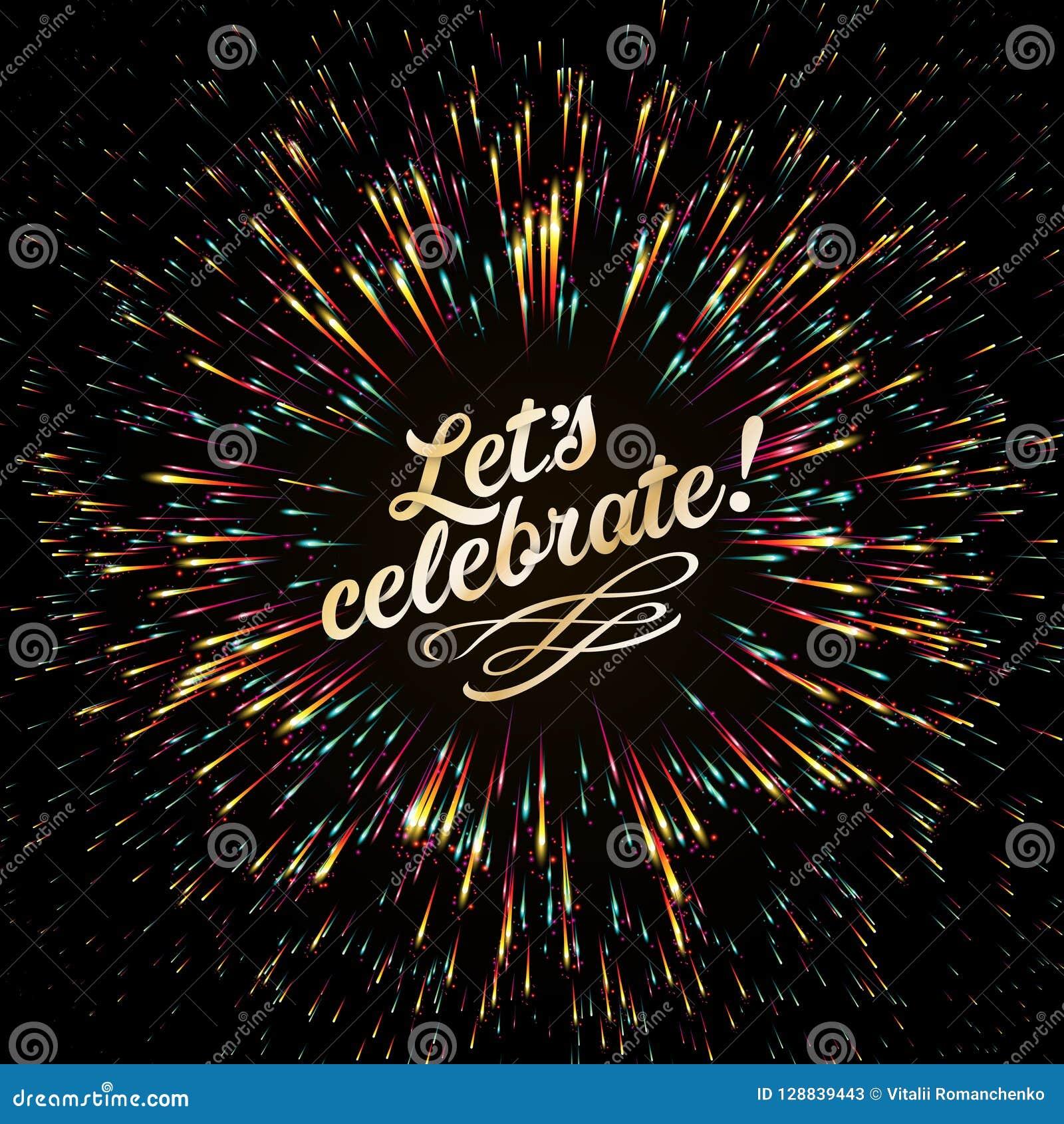 Uno scoppio luminoso delle luci festive effetto di incandescenza Saluto festivo del ` s del nuovo anno Fuochi d artificio dorati