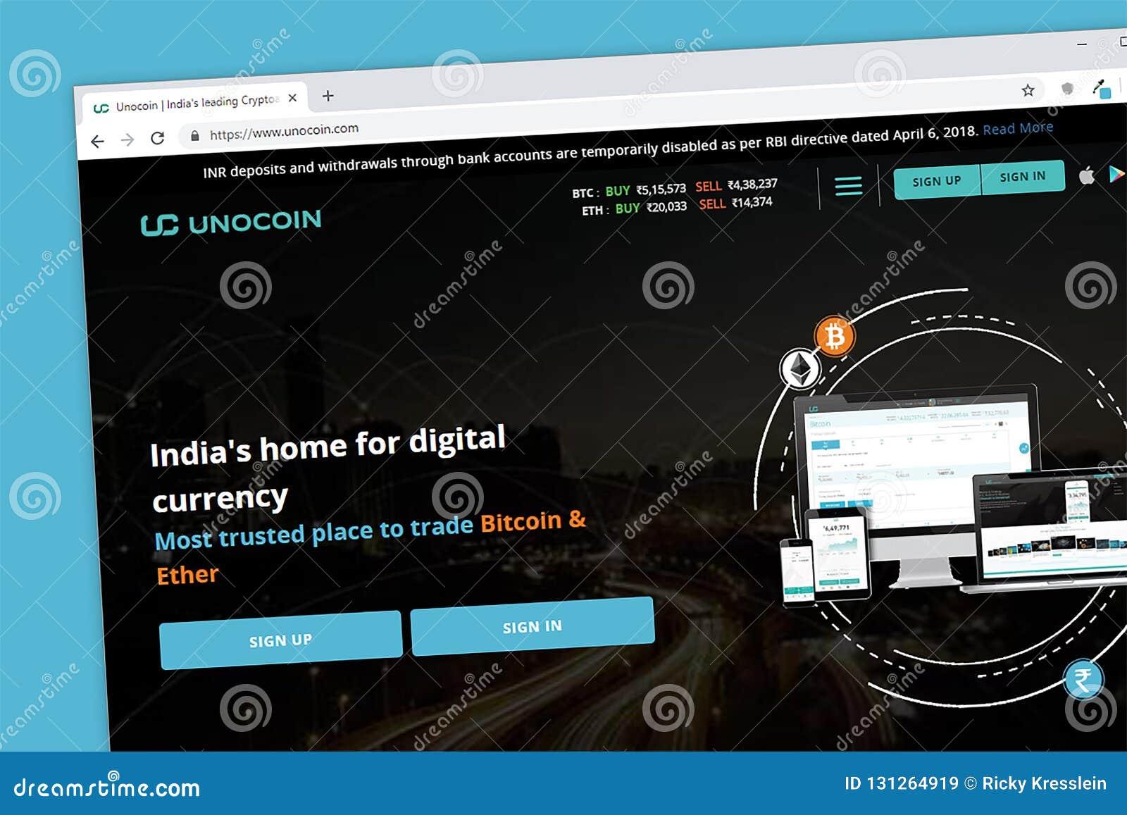 Unocoin cryptocurrency portfla strony internetowej Indiański homepage