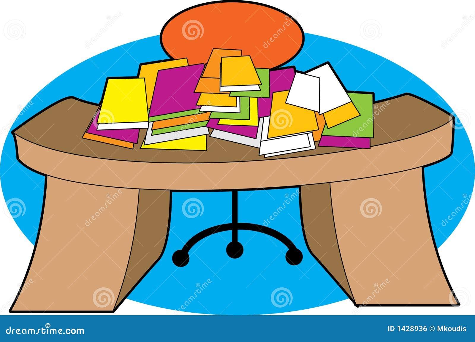 Schreibtisch clipart  Frau Mit Unordentlichem Schreibtisch Lizenzfreies Stockfoto - Bild ...