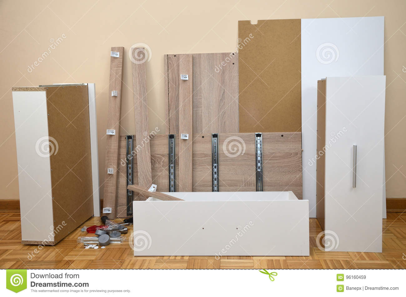 Unpacked Parts Of A Drawer Stock Image Image Of Panel 96160459