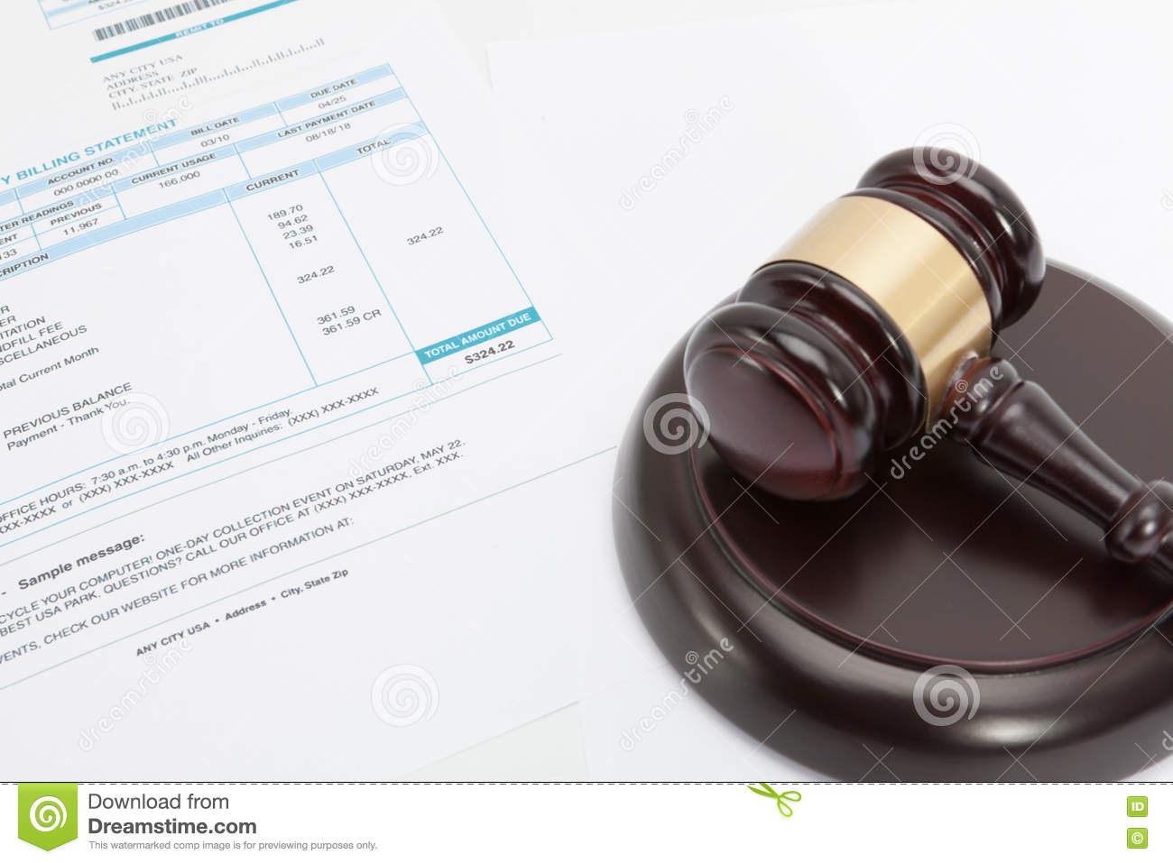 Unpaid Bill With Wooden Gavel Over It Series Stock Photo
