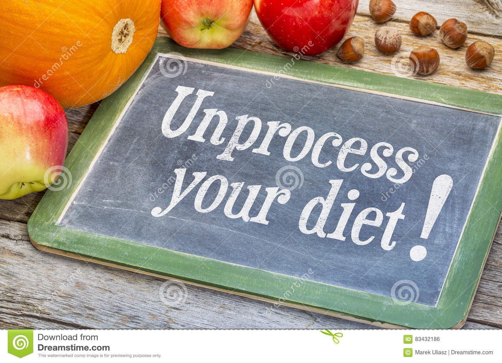 Unprocess η διατροφή σας - υγιής έννοια κατανάλωσης