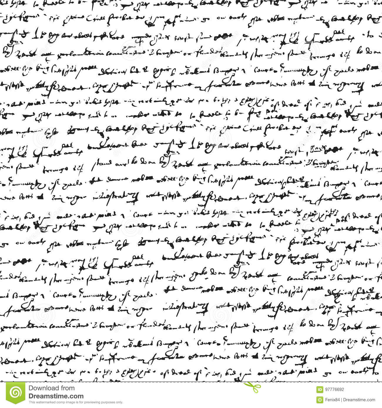Unreadable Inclined Handwritten Text. Stock Vector - Illustration of ...