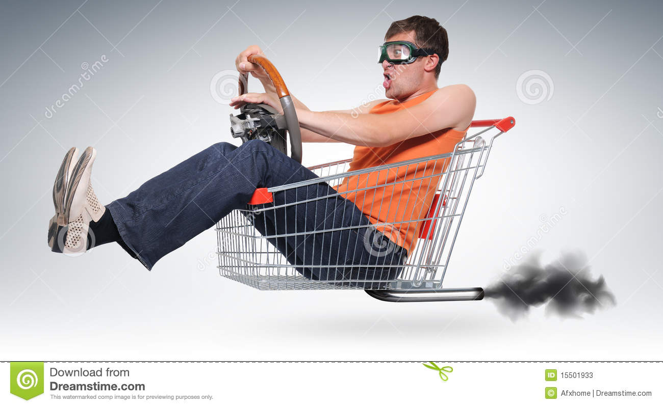 unreal crazy driver in a shopping cart with wheel stock image image of person humor 15501933. Black Bedroom Furniture Sets. Home Design Ideas