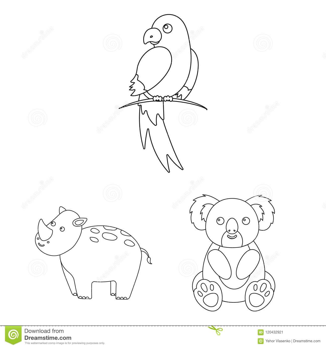 An Unrealistic Animal Outline Icons In Set Collection For Design
