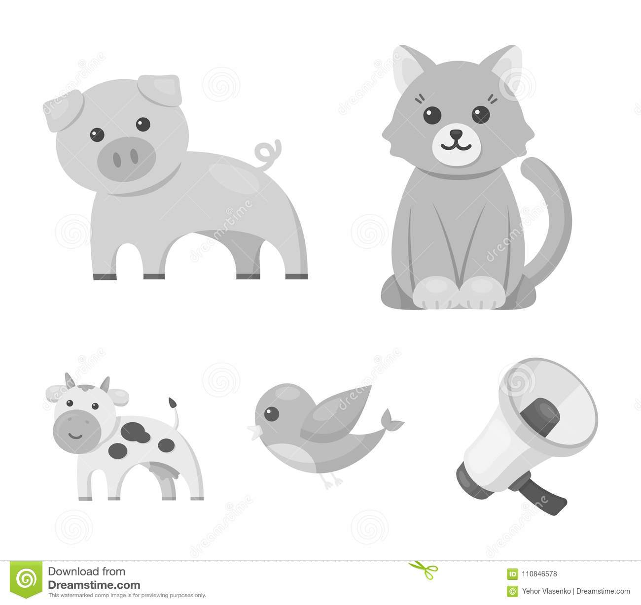 An Unrealistic Monochrome Animal Icons In Set Collection For Design
