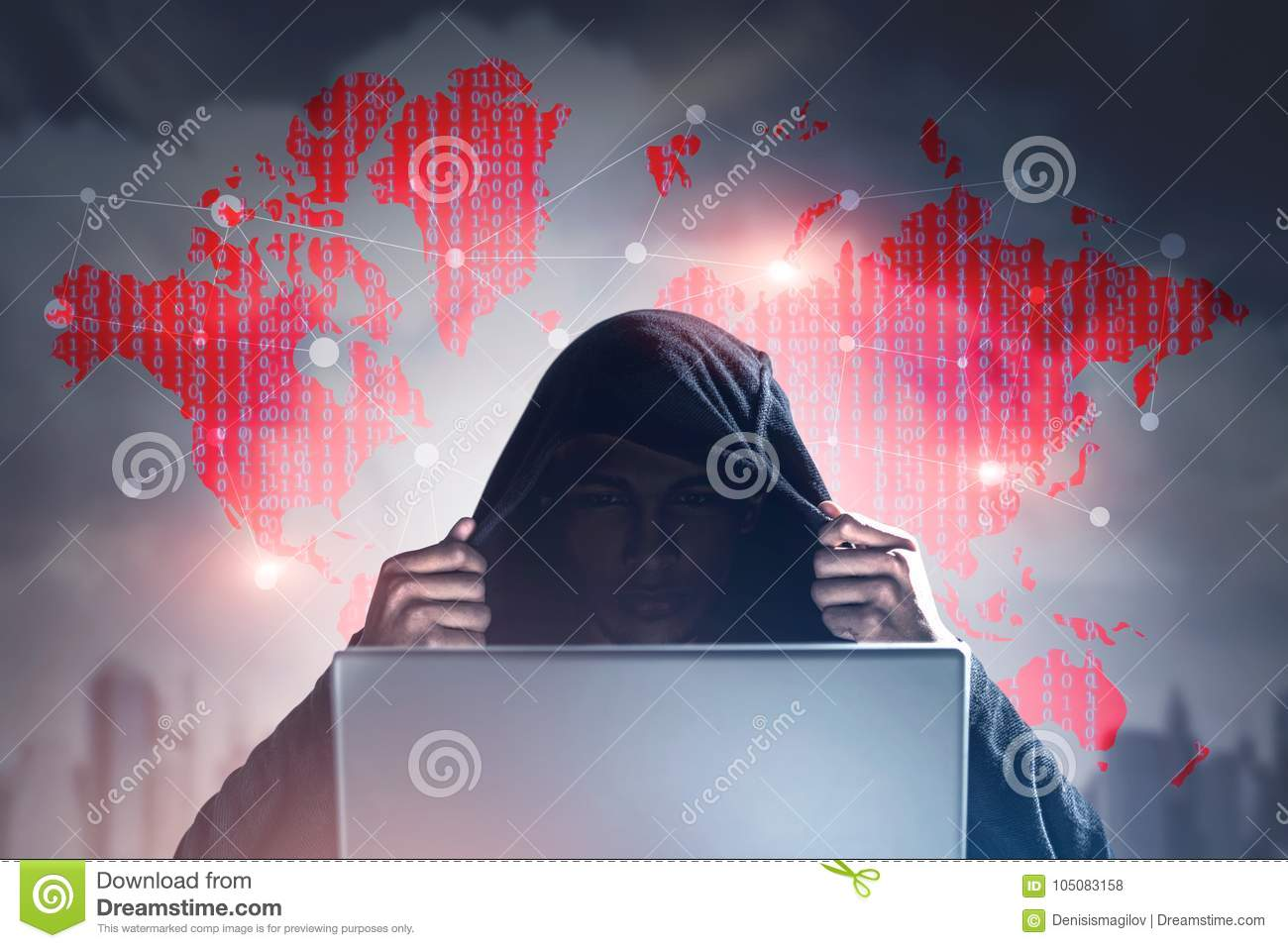 Unrecognizable hacker city world map laptop stock photo image download comp gumiabroncs Gallery