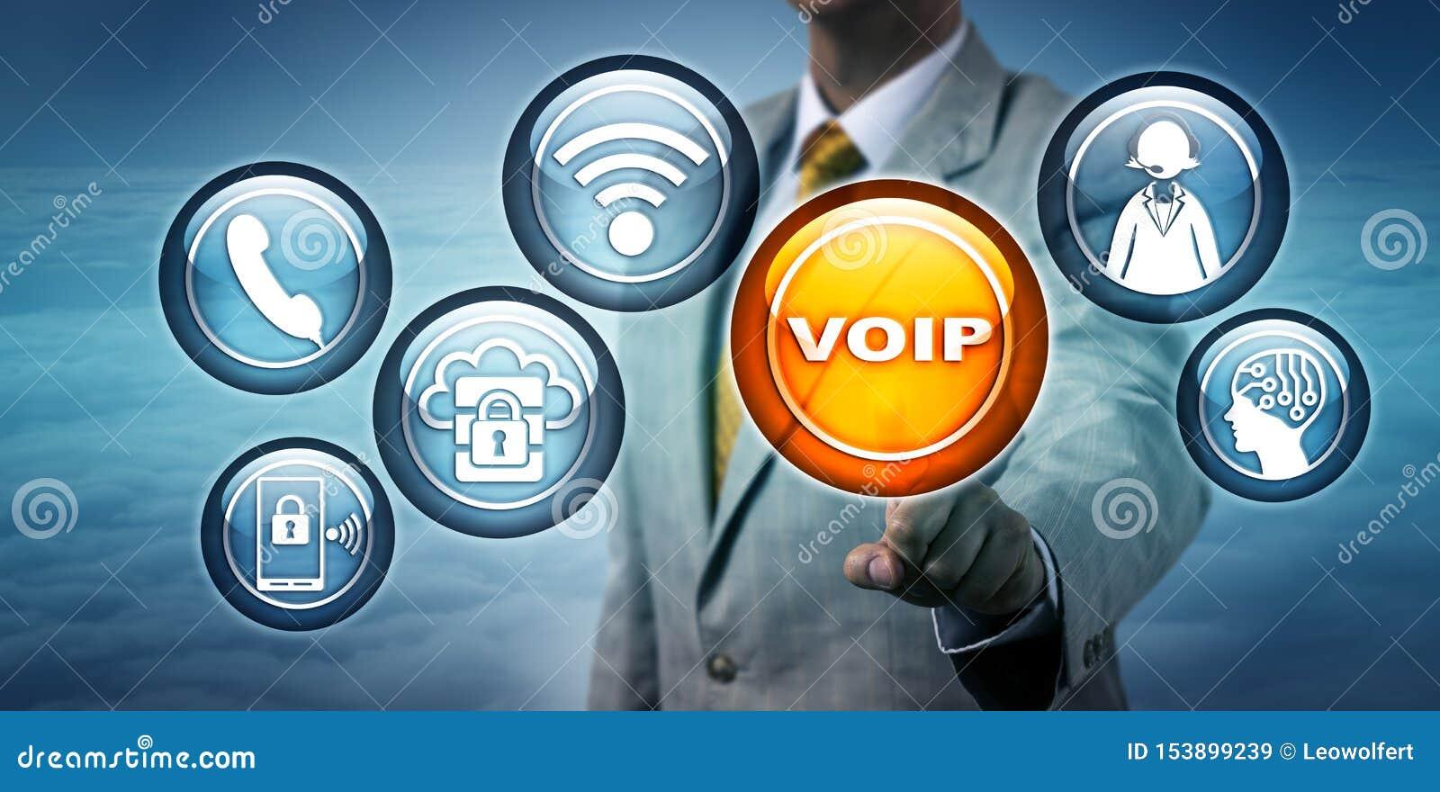 Unrecognizable konsultant Podkreśla VOIP App