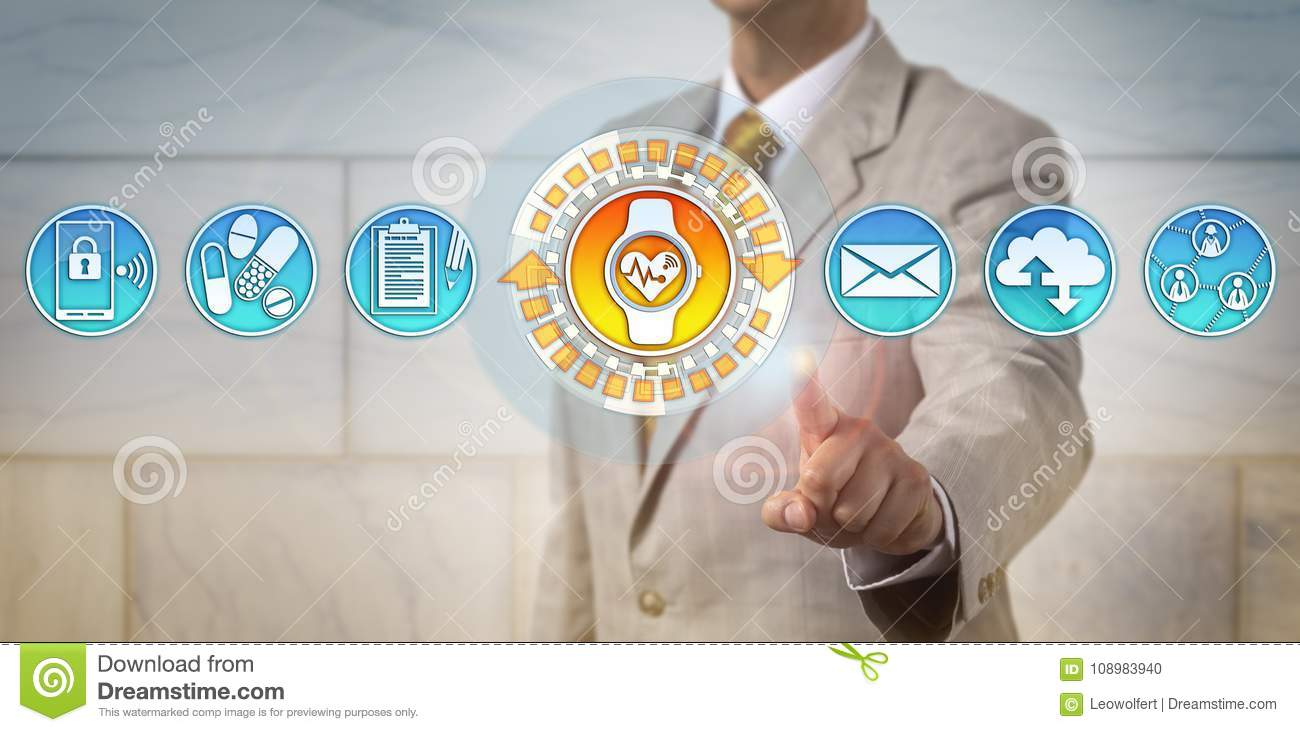 Manager Accessing ECG App Via Smart Wristwatch Stock Photo