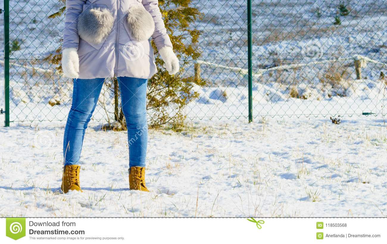 fbdb422f36 Unrecognizable Woman Wearing Winter Outfit Stock Photo - Image of ...