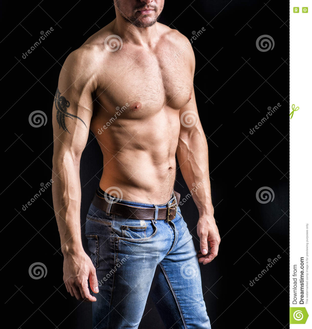 Muscle Naked Young Man Posing In Jeans Stock Photo - Image