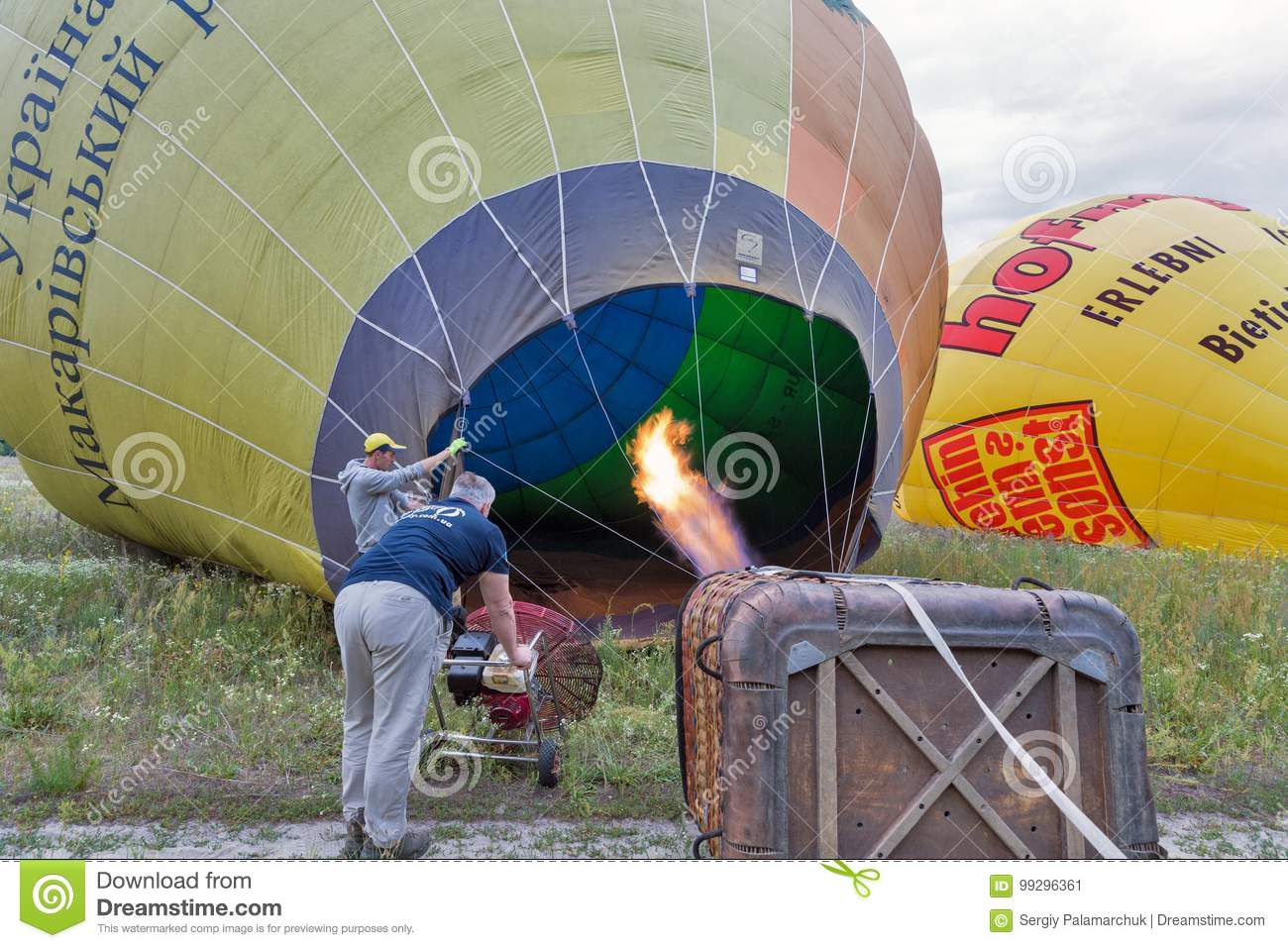 Hot Air Balloon Preparing To Flight Makariv Ukraine