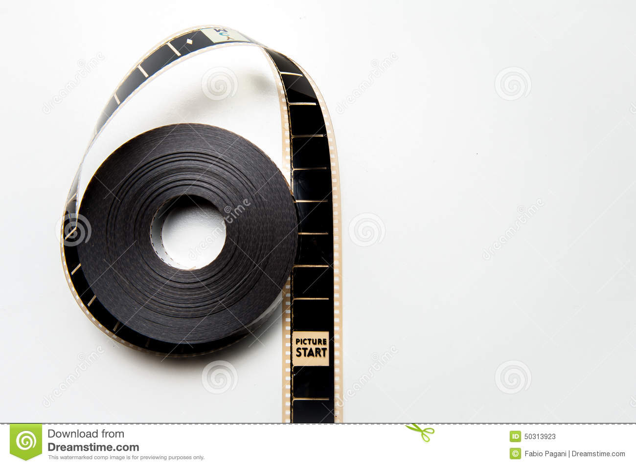 Unrolled 35mm Movie Reel With Picture Start Frame In Vintage Col ...