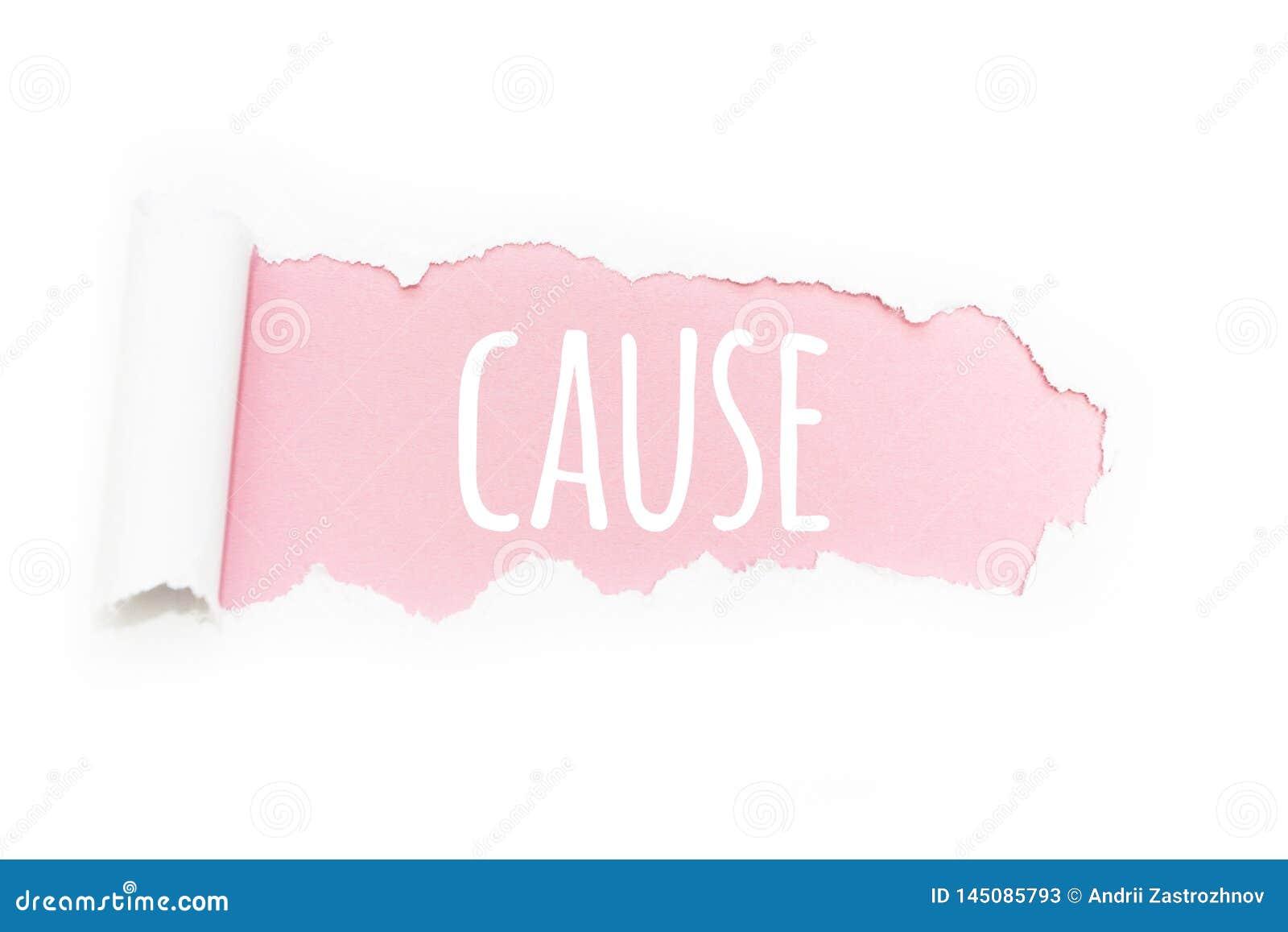 Uns because do subtítulo na ruptura do papel em um fundo cor-de-rosa