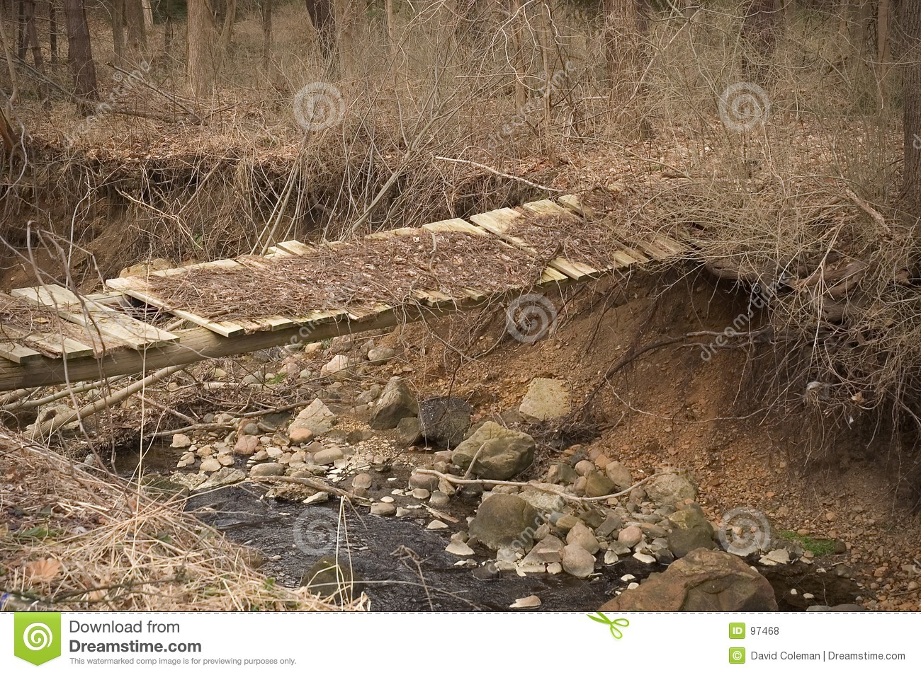creek. The bridge has fallen into dis-repair and appears quite unsafe