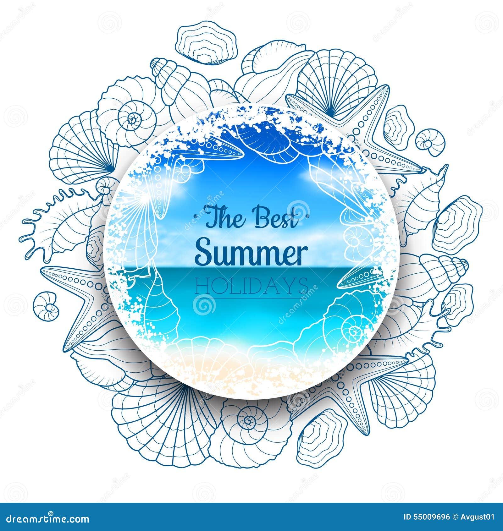 Unscharfe Sommerfahne mit Muscheln und Starfishes