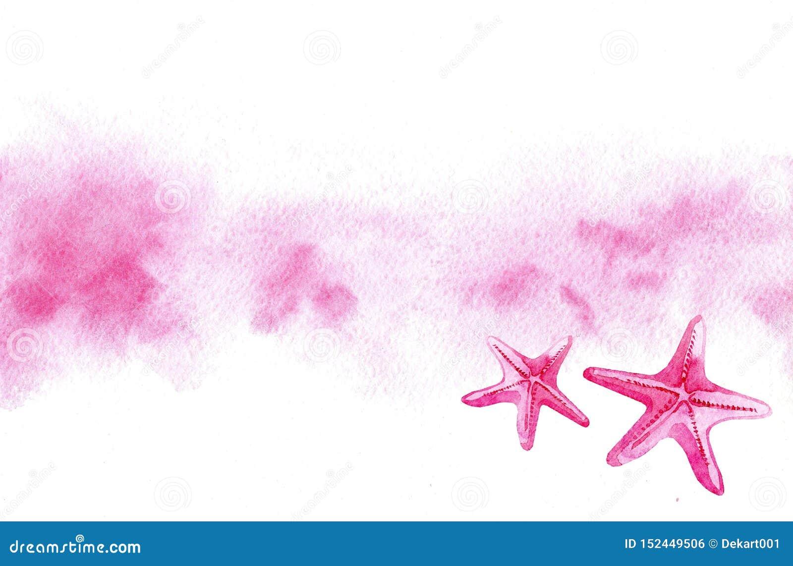 Unscharfer Hintergrund des Handgezogenes Aquarells Rosa und rosa Starfishes