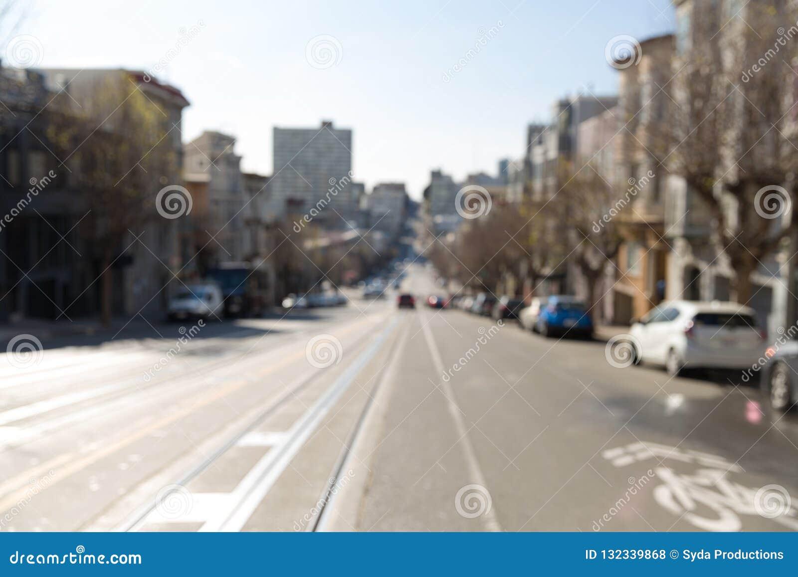 Unscharfes Stadtbild der San Francisco Stadtstraße