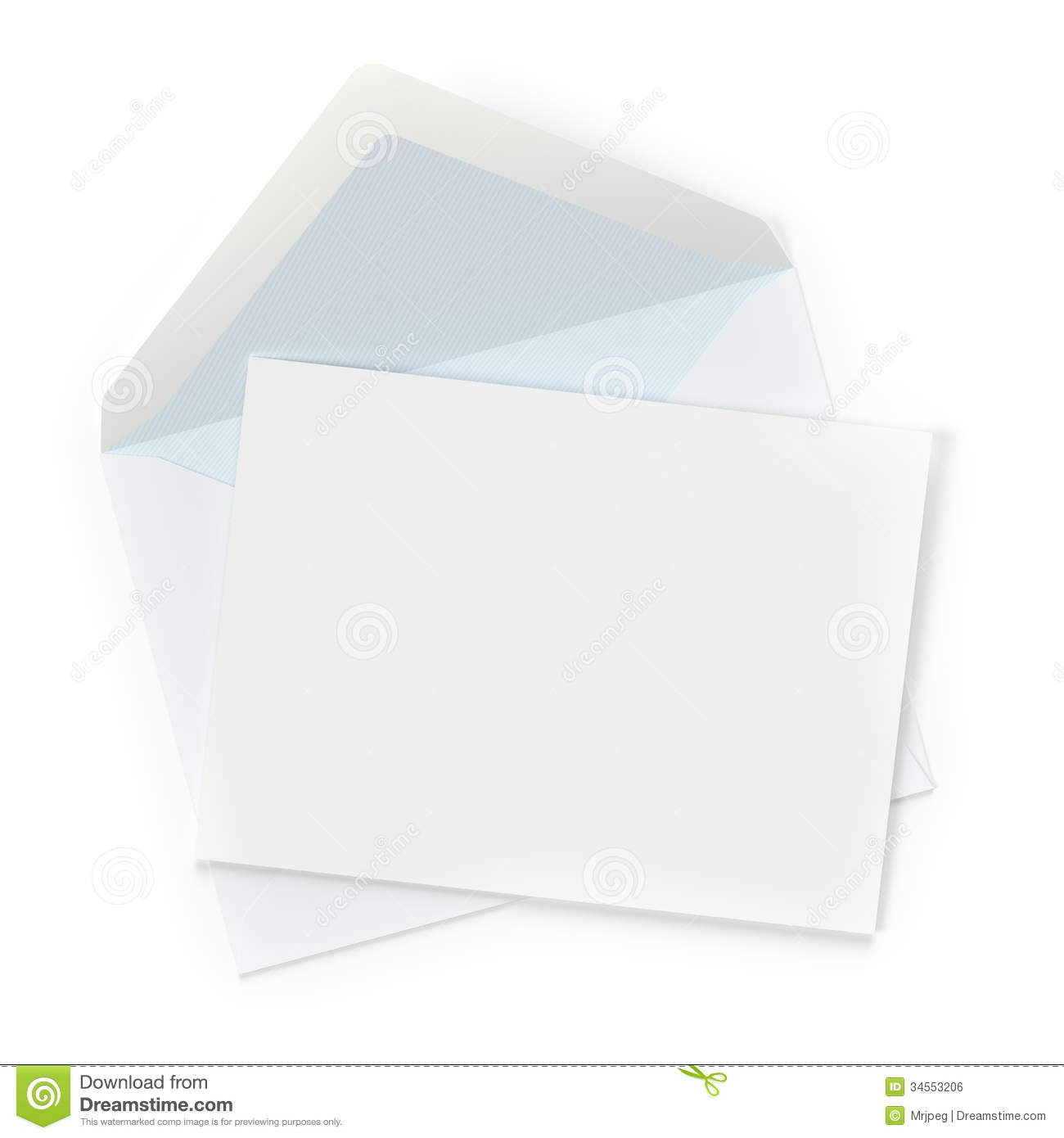 Envelope with blank letter on white background. Computer generated ...