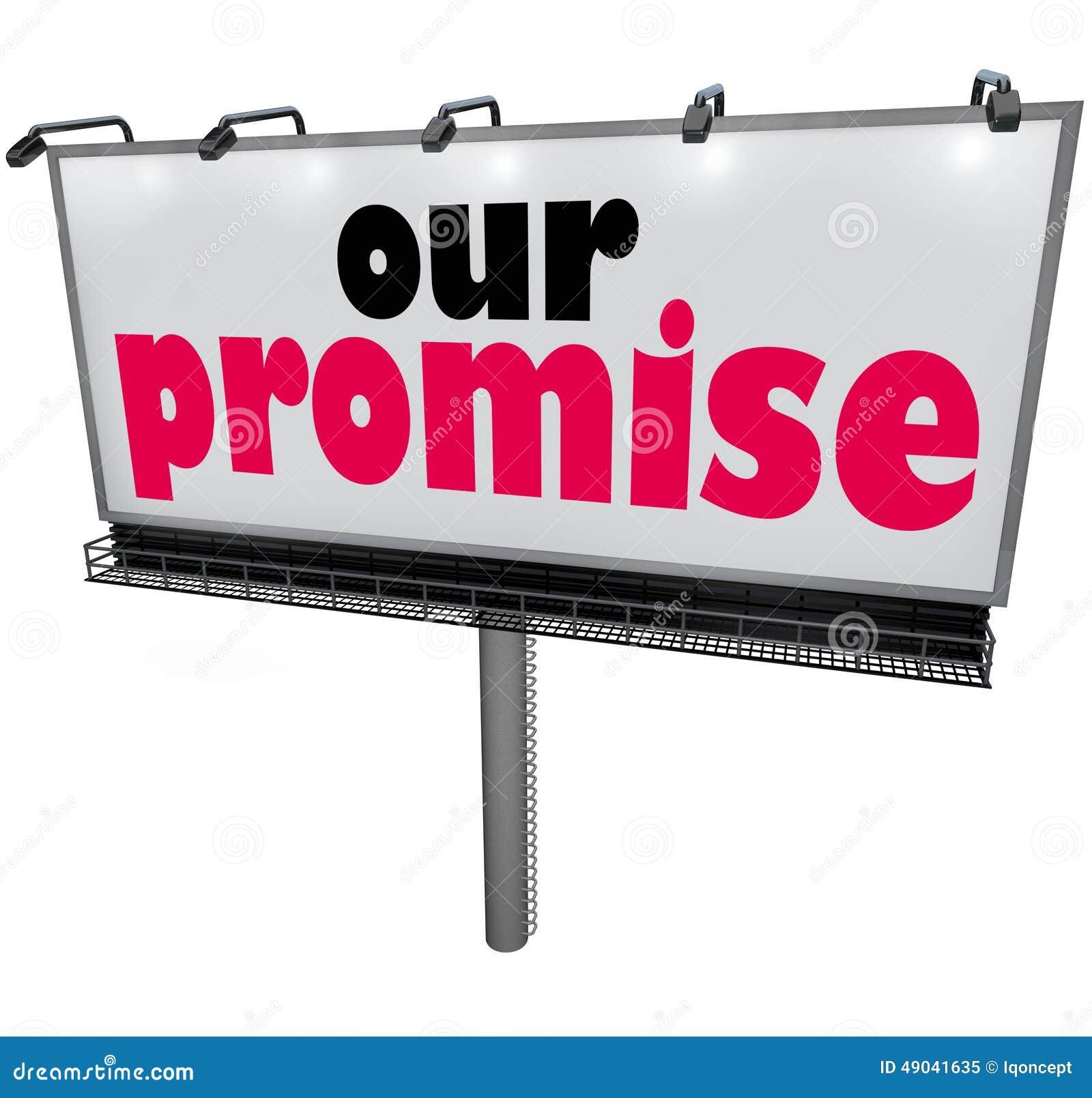 Unser Versprechen-Anschlagtafel-Mitteilungs-Werbungs-Garantie-Versprechen-Service