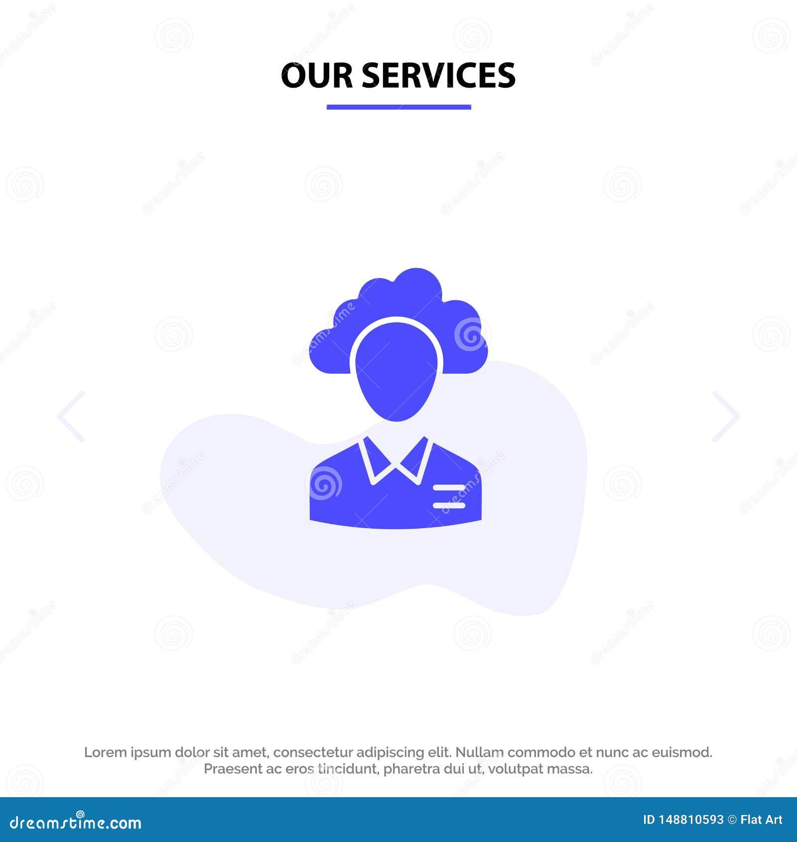 Unsere Dienstleistungen lagern aus, bewölken sich, Mensch, Management, Manager, Leute, Ressource feste Glyph-Ikonen-Netzkarte Sch